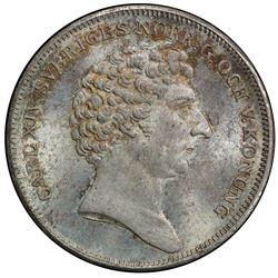SWEDEN: Karl XIV, 1818-1844, AR 1/4 riksdaler, 1833 CB. PCGS MS65
