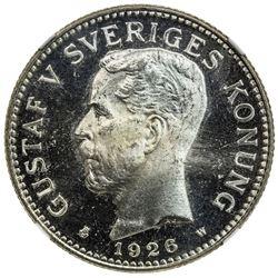 SWEDEN: Gustaf V, 1907-1950, AR 2 kronor, 1926. NGC MS65