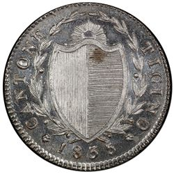 TICINO: AR mezzo franco ( 1/2 franc), 1835. PCGS MS66