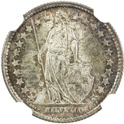 SWITZERLAND: Confederation, AR 1/2 franc, 1898-B. NGC MS65