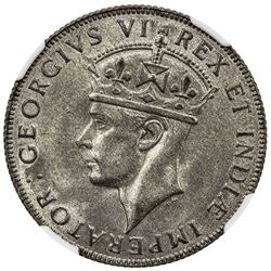EAST AFRICA: George VI, 1937-1952, AR shilling, 1941-I. NGC MS64