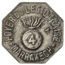 MOROCCO: 0.25 (franc) token (3.31g), ND [ca. 1915?]. VF