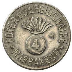 MOROCCO: 1 (franc) token (3.01g), ND [ca. 1915?]. EF