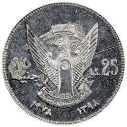 SUDAN: Democratic Republic, 25 pounds, 1978/AH1398. PCGS MS64