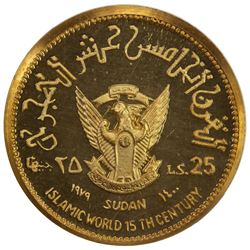 SUDAN: Democratic Republic, 25 pounds, 1979/AH1400. NGC PF66
