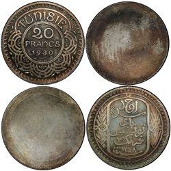 TUNISIA: Ahmad Pasha Bey, 1929-1942, AR 20 francs, 1930//AH1348 (sic)