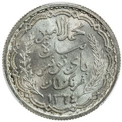 TUNISIA: Muhammad al-Amin, 1943-1957, AR 10 francs, 1944//AH1364. PCGS MS65