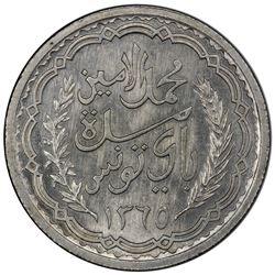 TUNISIA: Muhammad al-Amin, 1943-1957, AR 10 francs, 1945//AH1365. PCGS MS64