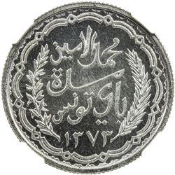 TUNISIA: Muhammad al-Amin, 1943-1957, AR 10 francs, 1953. PCGS MS66