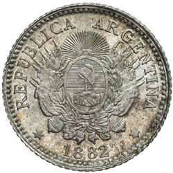 ARGENTINA: Republic, AR 10 centavos, 1882. UNC
