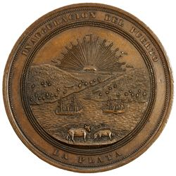ARGENTINA: AE medal, 1890, 56mm, Inauguration of the Port of La Plata, EF