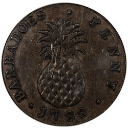 BARBADOS: George III, 1870-1820, AE penny, 1788. NGC AU55