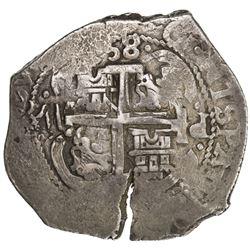 BOLIVIA: Carlos II, 1665-1700, AR 8 reales cob (27.06g), 1685-P. VF