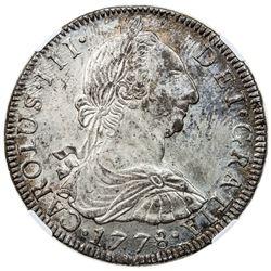 BOLIVIA: Carlos III, 1759-1788, AR 8 reales, 1778-PTS. NGC MS62
