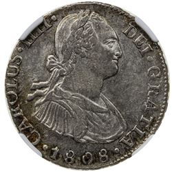BOLIVIA: Carlos III, 1759-1808, AR 2 reales, 1808-PTS. NGC AU55