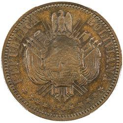 BOLIVIA: Republic, AE pattern boliviano (21.58g), 1868. PCGS SP64