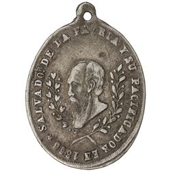 BOLIVIA: Republic, AR medal (7.97g), 1865. VF
