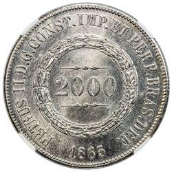 BRAZIL: Pedro II, 1831-1889, AR 2000 reis, 1865. NGC MS64