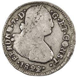 COLOMBIA: Fernando VII, 1808-1822, AR 2 reales (5.76g), Pasto, 1822-P. F