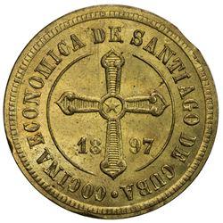 CUBA: 1 centavo token, Santiago, 1897. UNC