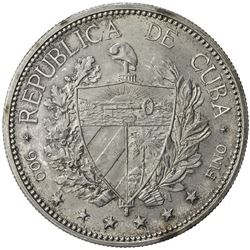 CUBA: AR souvenir peso, 1897. UNC