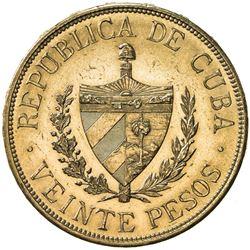 CUBA: Republic, AV 20 pesos, 1915. UNC