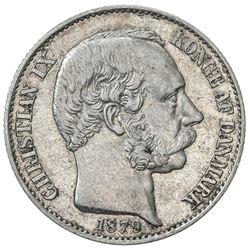 DANISH WEST INDIES: Christian IX, 1863-1906, AR 20 cents, 1879. EF
