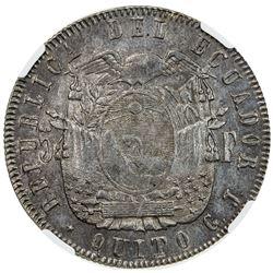 ECUADOR: Republic, AR 5 francos, Quito, 1858. NGC MS61