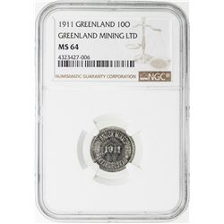 GREENLAND: Greenland Mining Co.: LOT of 2 slabbed nickel-plated zinc tokens dated 1911