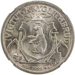 GREENLAND: Ivigtut: copper-nickel 10 kroner token, 1922. NGC MS64