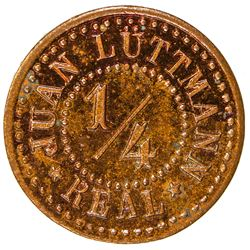 GUATEMALA: AE 1/4 real token (0.96g), ND [ca. 1900s]. SP