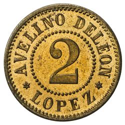 GUATEMALA: 2 [reales] token (2.26g), ND [ca. 1900s]. SP