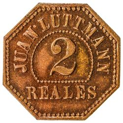 GUATEMALA: AE 2 reales token (2.62g), ND [ca. 1900s]. UNC