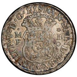 MEXICO: Felipe V, 2nd reign, 1724-1746, AR real, 1738-Mo. NGC AU53