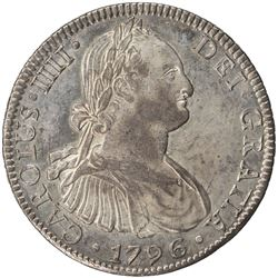 MEXICO: Carlos IV, 1788-1808, AR 8 reales (26.93g), 1796-Mo. AU