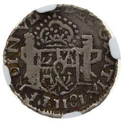 """MEXICO: Fernando VII, 1808-1821, AR 1/2 real, """"1181"""" (error for 1811). NGC F15"""