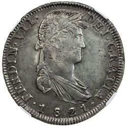 MEXICO: Fernando VII, 1808-1821, AR 8 reales, 1821-Zs. NGC AU55