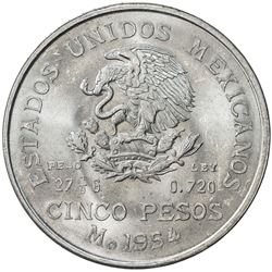 MEXICO: Republic, AR 5 pesos, 1954. UNC