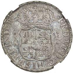 PERU: Fernando VI, 1746-1759, AR 2 reales, 1757-LM. NGC AU55