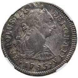 PERU: Carlos III, 1759-1788, AR 2 reales, Lima, 1785. NGC AU55