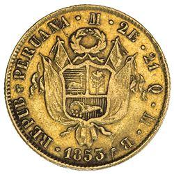 PERU: Republic, AV 2 escudos (6.70g), Lima, 1855. VF