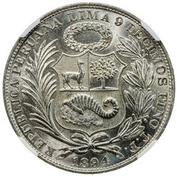 PERU: Republic, AR sol, 1894. NGC MS63