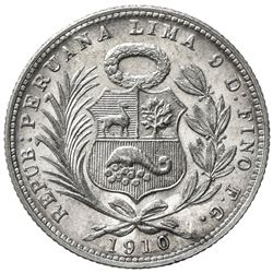PERU: Republic, AR 1/5 sol, 1910/00, KM-205.2, assayer FG, scarce overdate, lovely light tone, UNC