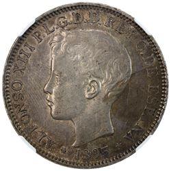 PUERTO RICO: Alfonso XIII, 1886-1898, AR peso, 1895-PG V. PCGS AU55