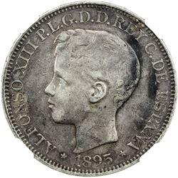 PUERTO RICO: Alfonso XIII, 1886-1931, AR peso, 1895-PGV. NGC VF30