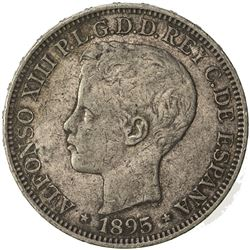 PUERTO RICO: Alfonso XIII, 1886-1931, AR peso, 1895. VF