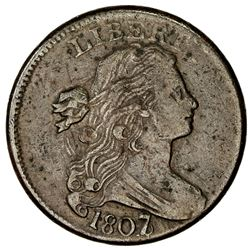 UNITED STATES: AE cent, 1807/6, VF, Draped Bust type