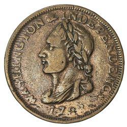 "UNITED STATES: AE Washington cent token, 1783, Fine, ""UNITY STATES"" variety"