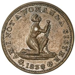 UNITED STATES: Hard Times token, 1838 (10.55g), HT-81, choice EF, AM I NOT A WOMAN & A SISTER