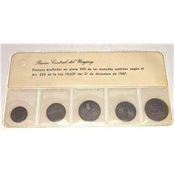 URUGUAY: 5-coin silver pattern set, 1968, KM-PnPS2